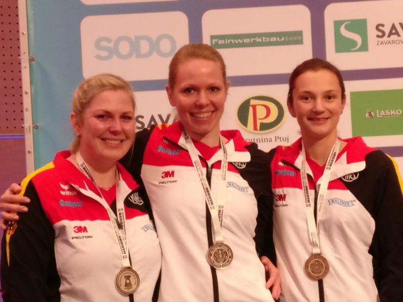 Silber-Damenteam Luftpistole Stefanie Thurmann, Julia Hochmuth, Sandra Reitz