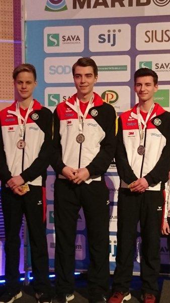 Silber-Juniorenteam Luftpistole Nils Strubel, Aleksandar Todorov, Robin Walter